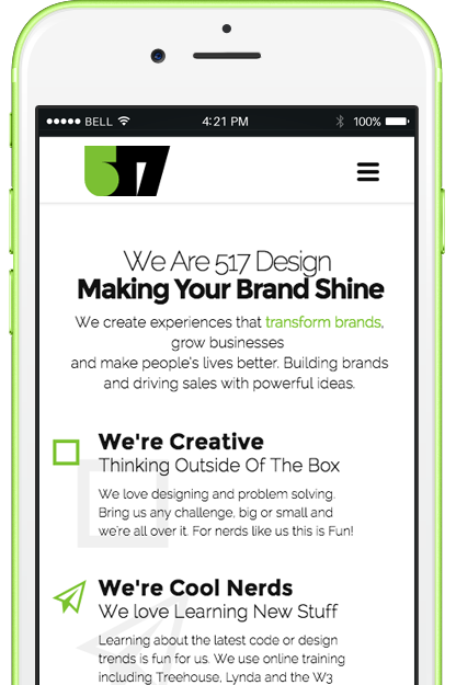 517 Tampa Web Design Mobile website development for iphones and android phones